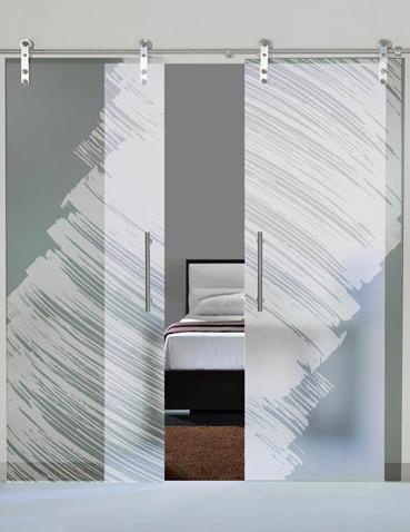 Porta scorrevole doppia anta in vetro Laborvetro – Graffi di colore AL