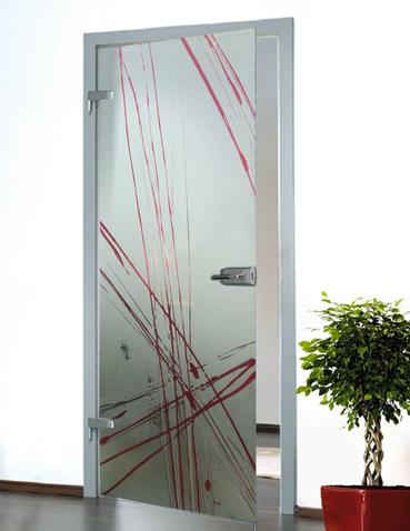 Porta in vetro battente Laborvetro – Graffi di colore AQ