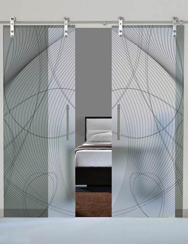 Porta scorrevole doppia anta in vetro Laborvetro – Tripudio di forme BI