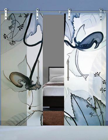 Porta scorrevole doppia anta in vetro Laborvetro – Sintonia CT