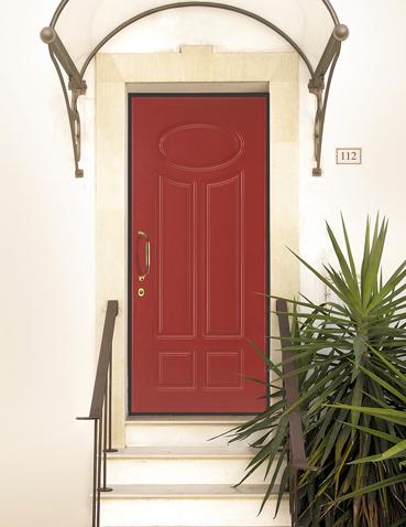 Porta blindata rossa con pannello Zero5 - Armonia 112